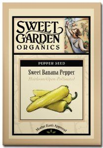 """Sweet Banana Pepper - Heirloom Seeds by Sweet Garden Organics. $2.98. Heirloom Seeds. Heavy producer of 6"""" long, mild and sweet peppers. 20 seeds - open-pollinated so you can harvest seed and save for next year's planting!. 72 days to harvest. Compact size, perfect for patio or container growing. I always save a spot for these large, 6-inch long peppers in my garden. They are mild and sweet, and I like to use them in salads, sauteed or pickled (easy to do!). My new favorite..."""