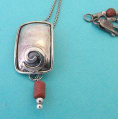 "SHEN63 925 Sterling Silver Silpada Swirl Gold Stone Necklace 16.5"" 6Grams"