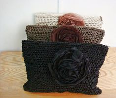 Crochet Clutch Bags Set of 3 Black Brown Ivory by FaiLovesFashion