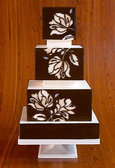 Laser cutouts above a white cake.Cake by Elegantly Iced Elegant Wedding Cakes, Elegant Cakes, Beautiful Wedding Cakes, Gorgeous Cakes, Wedding Cake Designs, Pretty Cakes, Cute Cakes, Amazing Cakes, Bolo Floral