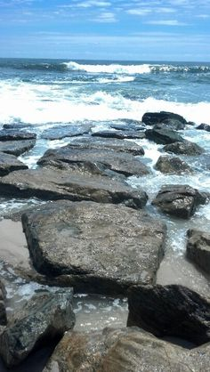 Long Beach Island. Love watching the water around each rock. <3 Relaxing...