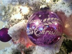 "Large purple ""Merry Christmas"" Shiny Brite stencil ornament   #christmas #ornament #shinybrite #purple #retro #vintage #kitsch"