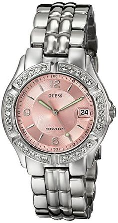 Women's Wrist Watches - GUESS Womens G75791M Sporty SilverTone Watch with Pink Dial  CrystalAccented Bezel and Stainless Steel Deployment Buckle ** Check this awesome product by going to the link at the image. (This is an Amazon affiliate link)
