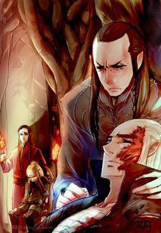 Elrond healing Thranduil...awww...poor little Legolas in the background. :(