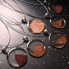 Autumn Leaf Necklaces - Real Leaf Pendant - Autumn Leaves - Resin Leaves Jewelry - Handmade