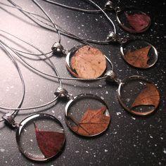 Autumn Leaf Necklaces - Real Leaf Pendant - Autumn Leaves - Resin Leaves Jewelry - Handmade