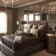 Mirror headboard best ideas on glam bedroom with mirrors as Glam Bedroom, Diy Home Decor Bedroom, Living Room Decor, Bedroom Wall, Bedroom Headboards, Bedroom Sets, Dining Room, Inspire Me Home Decor, Farmhouse Style Bedrooms