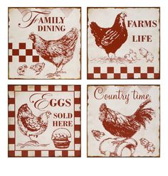 vintage chicken signs | IMAX Worldwide Vintage Cafe Chicken Signs (Set of 4) - 27542-4 by IMAX ...