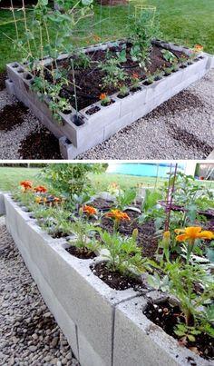Raised Garden Bed from Cinder Blocks | Click Pic for 20 DIY Garden Ideas on a Budget | DIY Backyard Ideas on a Budget for Kids #diygardenprojectsbudgetbackyard