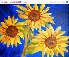 Sunflowers Original Acrylic Painting by ArtForComfort on Etsy, $85.00