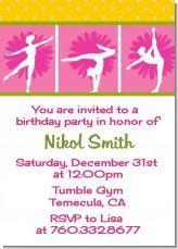 gymnastics theme for a little girls birthday party invitation
