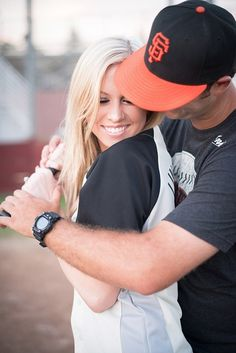 Baseball theme engagement - could def incorporate the cap...