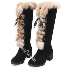Faux Furry Round Toe Block Heel Knee High Snow Boots; Winter boots