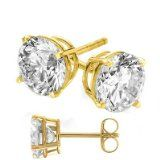 Jewelry Junkie - 14 Karat Real Gold Plated on Authentic 925 Sterling Silver Stud Earrings. Nickel Free 2 Carat Total Weight Round Cubic Zirconia Diamond Quality Stones. Reviews