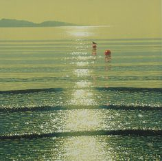 Watery Sunshine with Buoys - SOLD by Mark Pearce - Vermilion Art Gallery