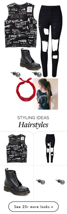 """Toni"" by lame-spacemilk on Polyvore featuring Monki, WithChic, Dr. Martens, Fallon and New Look"