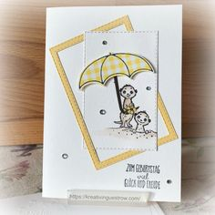 Meerkat one more time (Colors and Paper) - Meerkat one more time Informations About Erdmännchen noch einmal (Colors and Paper) Pin You can eas - Tarjetas Stampin Up, Stampin Up Karten, Fabric Stamping, Stamping Up Cards, Valentine Day Cards, Valentines, Umbrella Cards, Paper Pin, Under My Umbrella