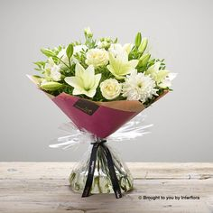 Valentines White Rose and Lily Handtied: Booker Flowers and Gifts Mini Roses, White Roses, Romantic Flowers, Beautiful Flowers, I Love You Balloons, Dozen Red Roses, Pink Rose Bouquet, Hand Tied Bouquet, Rose Gift