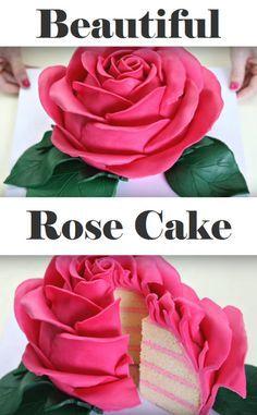 Delicious cake shaped like a rose (Bake Treats Sugar) - Cakes - Cake-Kuchen-Gateau Pretty Cakes, Cute Cakes, Beautiful Cakes, Yummy Cakes, Amazing Cakes, Cake Shapes, Fancy Cakes, Pink Cakes, Rose Cake