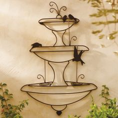 Birds in a Fountain Outdoor Wall Art