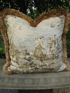 toile pillows for couch | Bosporous Aqua and Flax Toile DesginerToss Pillow by pillowsnsuch, $75 ...
