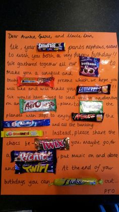 Chocolate bar card. Cute present from the kids for family. Fun and easy to make.