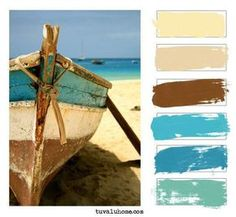 Tuesday Tips We're still making color boards for you guys and showing you how you can create a fun, custom palette with your color board. Last week we showed you a color board based on a palette th. Beach Cottage Style, Coastal Cottage, Coastal Style, Coastal Decor, Coastal Colors, Beach Color Palettes, Tableau Pop Art, Best Color Schemes, Beach Condo