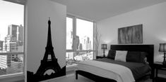 Inspiring Small Black And White Room Decor Feat Paris Themed Wall Decals And White Master Bed For Guys Bedroom Ideas