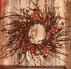 Fall Wreath - Pumpkins, Berries, Leaves, Twigs-Fall Wreath,Fall Wall Decor,Fall Decor,Fall Pumpkin Wreath,Fall Berry Wreath,Fall Leaf Wreath...