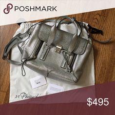 Phillip Lim Medium Pashli Satchel Silver textured leather. Brand new. Never been used. 3.1 Phillip Lim Bags Satchels