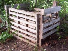 Homemade compost bin from re-purposed materials.