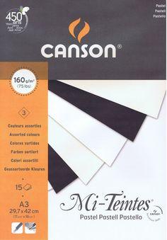 Canson Mi Teintes Pastelblok.   Maat A3. 29.7x42 cm.  Geschikt voor alle tekentechnieken met pastel.   krijt en potlood   Inhoud 15 vel zuurvrij pastelpapier 160 grams,   verdeeld over wit, crme en zwart.