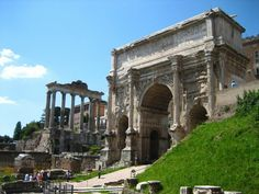 Ancient Rome - a view of the arch of Septimius Severus and temple of Saturn from the Curia.