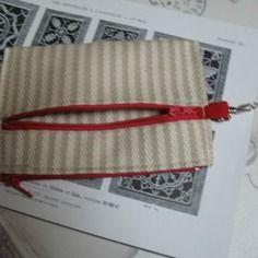 Porte monnaie espadrille écru 10 x 16 zip rouge