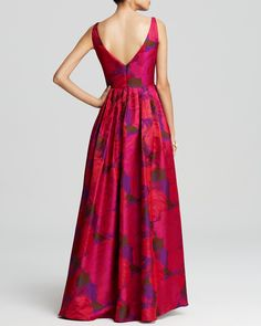 Adrianna Papell Gown - Sleeveless Floral Print Ball | Bloomingdale's Floral Print Gowns, Floral Dress Design, Printed Gowns, Floral Maxi Dress, Kurta Designs, Blouse Designs, Boho Fashion, Fashion Dresses, Choli Dress