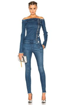Shop for RtA Lucienne Jumpsuit in Raid at FWRD. Free 2 day shipping and returns. Jumpsuit Outfit, Jeans Jumpsuit, Blue Jean Jumpsuit, Jeans Dress, Dress Shoes, Shoes Heels, Looks Total Jeans, Autumn Fashion Grunge, Fall Fashion