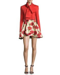 Adair+Tie-Neck+Cropped+Jacket,+Bright+Red+and+Matching+Items+by+Alice+++Olivia+at+Neiman+Marcus.