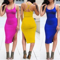 Women's Sleeveless Bandage Split Backless Eevening Dress Slim Fit Bodycon Dress Clubwear