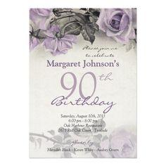 Vintage Sterling Silver Purple Rose 90th Birthday Invitation 70th Invitations Printable Wedding