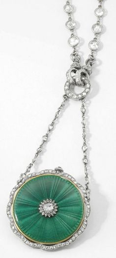 Cartier. A fine and attractive 18K gold, platinum, enamel and diamond-set openface keyless lever pendant watch with matching chain and box  Signed Cartier, Paris, case no. 2126, circa 1910