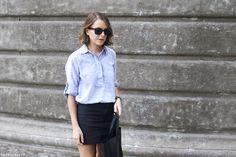 Trini | Ray-ban wayfarer sunglasses Gap striped shirt American Apparel skirt Céline Cabas bag