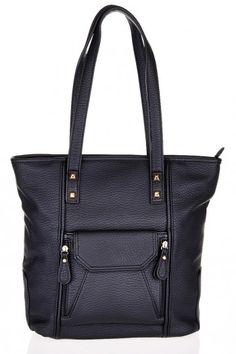 Grab Bag with Front Pocket Detail - Black