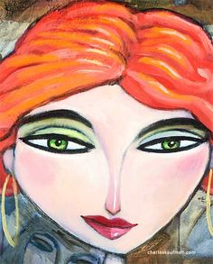 "Figurative Art & Paintings by Charles Kaufman: ""Love"". Click on the face to see the entire painting of the woman. #art #fashion #love #red #hair #figurative #necklace #jewelry #beauty #sexy"