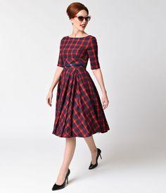 Vintage Style Red & Navy Blue Tartan Plaid Half Sleeve Hepburn Swing Dress