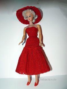 FREE PATTERN. Barbie Crochet Puppen Kleid.