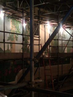 Mediterranean themed murals currently undergoing restoration. Wells, Murals, Restoration, Cinema, Movies, Wall Paintings, Mural Painting, Wall Murals, Movie Theater