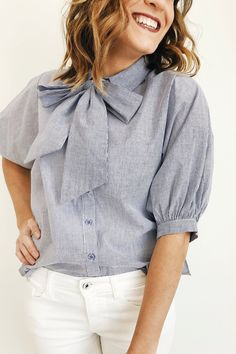 Blue and White Stripe Button Up Top | ROOLEE