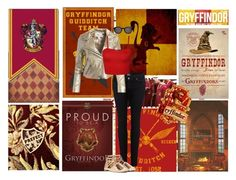 """Gryffindor"" by heywuzup ❤ liked on Polyvore featuring Paige Denim, Sans Souci, WearAll, Nasty Gal and Thierry Lasry"