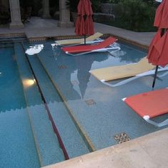 LOVE this in-water seating idea. I would add round tables around the umbrella poles. Luxurious Desert Oasis - mediterranean - pool - san diego - Hamilton-Gray Design, Inc. Backyard Pool Landscaping, Backyard Pool Designs, Swimming Pool Designs, Landscaping Ideas, Ideas De Piscina, Small Inground Pool, Small Pools, Pool Remodel, My Pool