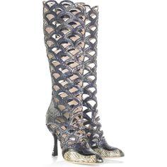 Miu Miu Python knee-high boots ($1,720) ❤ liked on Polyvore